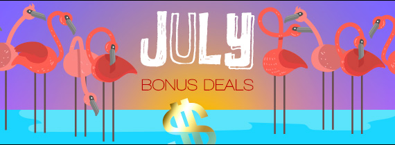 Spin for your Mystery Bonus plus July Match Specials